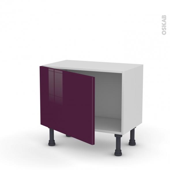 Meuble de cuisine - Bas - KERIA Aubergine - 1 porte - L60 x H41 x P37 cm