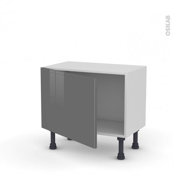 Meuble de cuisine - Bas - STECIA Gris - 1 porte - L60 x H41 x P37 cm