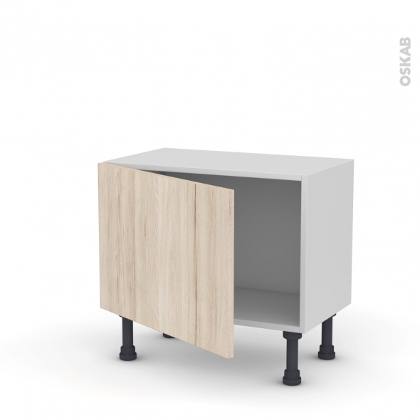 Meuble de cuisine - Bas - IKORO Chêne clair - 1 porte - L60 x H41 x P37 cm
