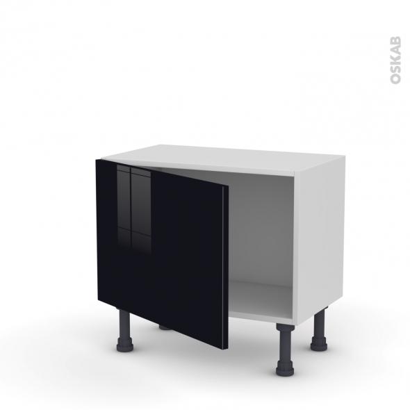 Meuble de cuisine - Bas - KERIA Noir - 1 porte - L60 x H41 x P37 cm