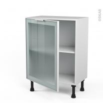 SOKLEO - Meuble bas cuisine prof.37  - Façade blanche alu vitrée - 1 porte - L60xH70xP37