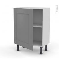 Meuble de cuisine - Bas - FILIPEN Gris - 1 porte - L60 x H70 x P37 cm
