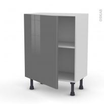 Meuble de cuisine - Bas - STECIA Gris - 1 porte - L60 x H70 x P37 cm