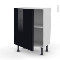 Meuble de cuisine - Bas - KERIA Noir - 1 porte - L60 x H70 x P37 cm