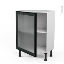 SOKLEO - Meuble bas cuisine prof.37  - Façade noire alu vitrée - 1 porte - L60xH70xP37