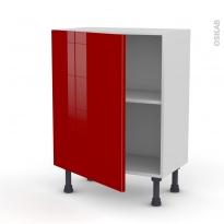 Meuble de cuisine - Bas - STECIA Rouge - 1 porte - L60 x H70 x P37 cm