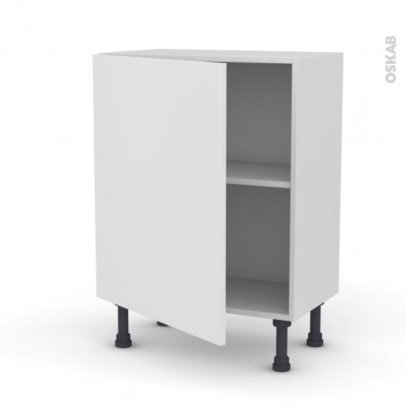 Meuble de cuisine - Bas - GINKO Blanc - 1 porte - L60 x H70 x P37 cm
