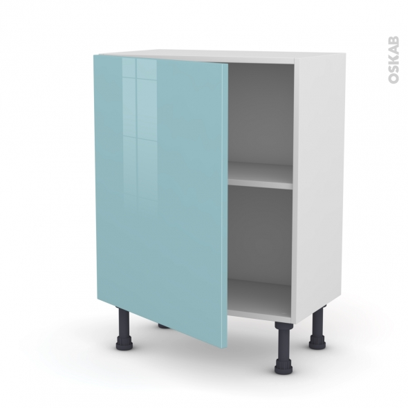 Meuble de cuisine - Bas - KERIA Bleu - 1 porte - L60 x H70 x P37 cm