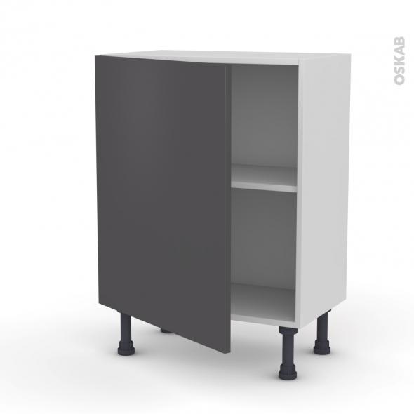 Meuble de cuisine - Bas - GINKO Gris - 1 porte - L60 x H70 x P37 cm