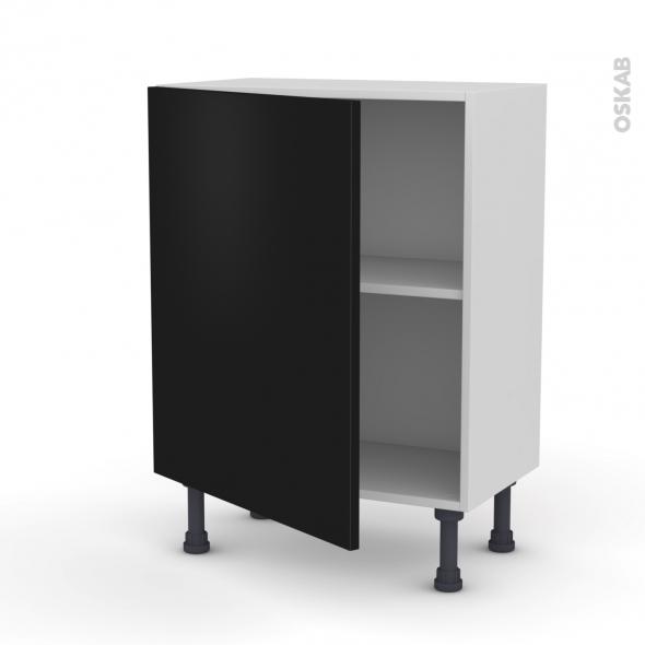 Meuble de cuisine - Bas - GINKO Noir - 1 porte - L60 x H70 x P37 cm