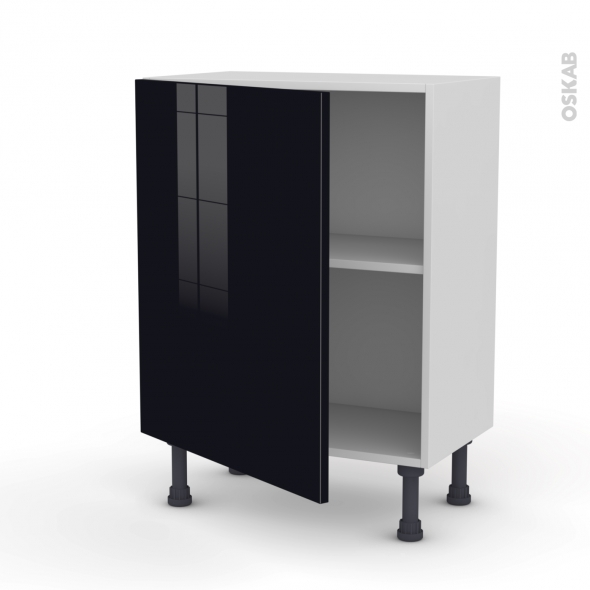 KERIA Noir - Meuble bas prof.37  - 1 porte - L60xH70xP37