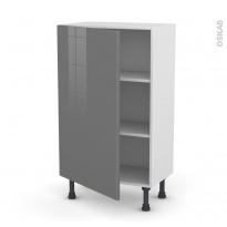 Meuble de cuisine - Bas - STECIA Gris - 1 porte - L60 x H92 x P37 cm