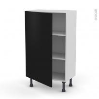 Meuble de cuisine - Bas - GINKO Noir - 1 porte - L60 x H92 x P37 cm