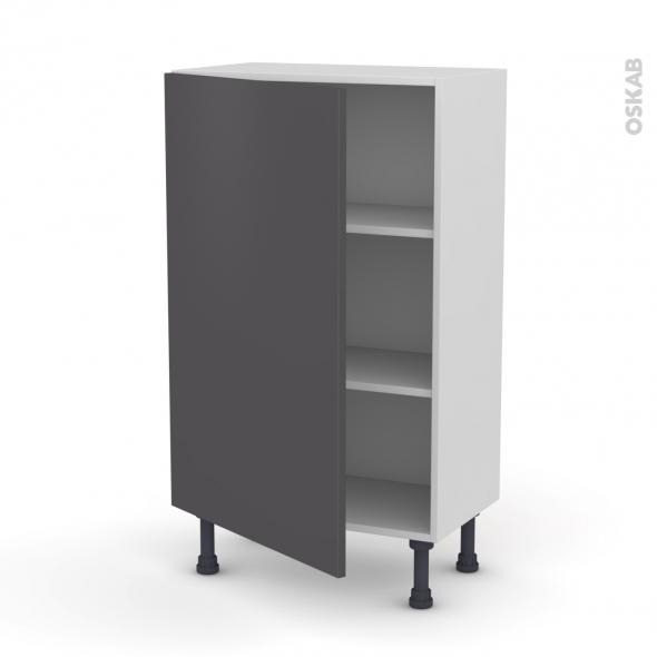 Meuble de cuisine - Bas - GINKO Gris - 1 porte - L60 x H92 x P37 cm