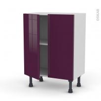 Meuble de cuisine - Bas - KERIA Aubergine - 2 portes - L60 x H70 x P37 cm