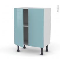 Meuble de cuisine - Bas - KERIA Bleu - 2 portes - L60 x H70 x P37 cm