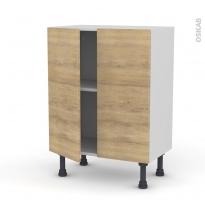 Meuble de cuisine - Bas - HOSTA Chêne naturel - 2 portes - L60 x H70 x P37 cm