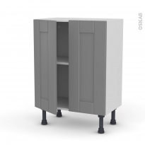Meuble de cuisine - Bas - FILIPEN Gris - 2 portes - L60 x H70 x P37 cm