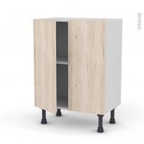 Meuble de cuisine - Bas - IKORO Chêne clair - 2 portes - L60 x H70 x P37 cm