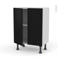 Meuble de cuisine - Bas - GINKO Noir - 2 portes - L60 x H70 x P37 cm