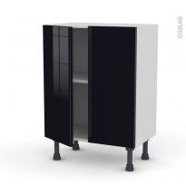 Meuble de cuisine - Bas - KERIA Noir - 2 portes - L60 x H70 x P37 cm