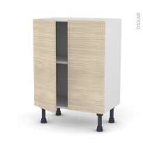 Meuble de cuisine - Bas - STILO Noyer Blanchi - 2 portes - L60 x H70 x P37 cm