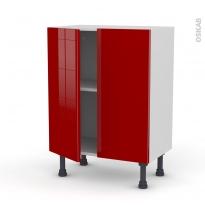 Meuble de cuisine - Bas - STECIA Rouge - 2 portes - L60 x H70 x P37 cm