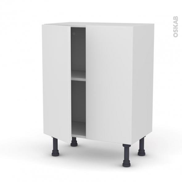 Meuble de cuisine - Bas - GINKO Blanc - 2 portes - L60 x H70 x P37 cm