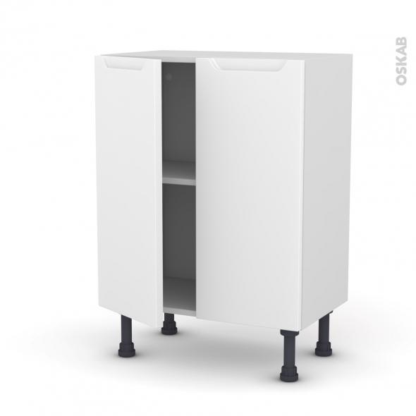 Meuble de cuisine - Bas - PIMA Blanc - 2 portes - L60 x H70 x P37 cm