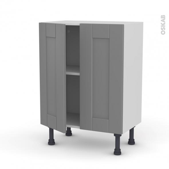 FILIPEN Gris - Meuble bas prof.37 - 2 portes - L60xH70xP37