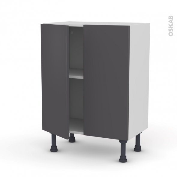 Meuble de cuisine - Bas - GINKO Gris - 2 portes - L60 x H70 x P37 cm