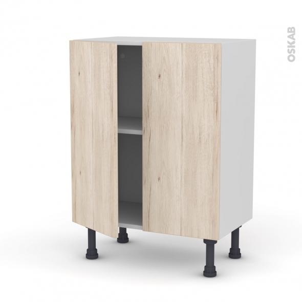 IKORO Chêne clair - Meuble bas prof.37 - 2 portes - L60xH70xP37