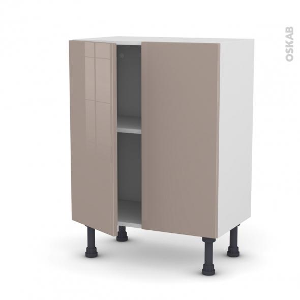 Meuble de cuisine - Bas - KERIA Moka - 2 portes - L60 x H70 x P37 cm