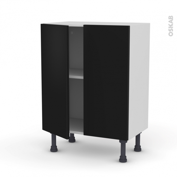 GINKO Noir - Meuble bas prof.37 - 2 portes - L60xH70xP37