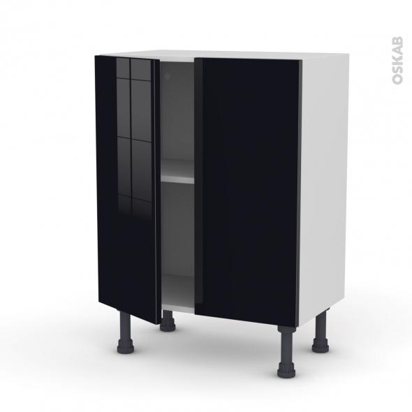 KERIA Noir - Meuble bas prof.37 - 2 portes - L60xH70xP37