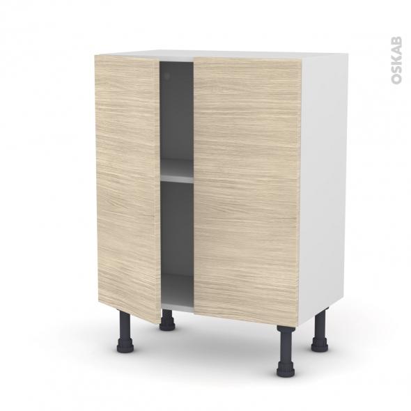 STILO Noyer Blanchi - Meuble bas prof.37 - 2 portes - L60xH70xP37