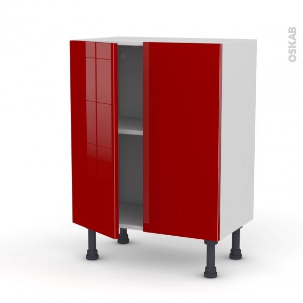 STECIA Rouge - Meuble bas prof.37 - 2 portes - L60xH70xP37