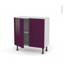 Meuble de cuisine - Bas - KERIA Aubergine - 2 portes - L80 x H70 x P37 cm
