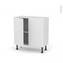 Meuble de cuisine - Bas - GINKO Blanc - 2 portes - L80 x H70 x P37 cm