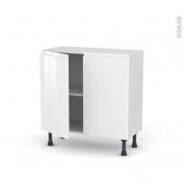 Meuble de cuisine - Bas - IPOMA Blanc - 2 portes - L80 x H70 x P37 cm