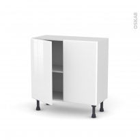 Meuble de cuisine - Bas - IRIS Blanc - 2 portes - L80 x H70 x P37 cm