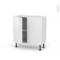 Meuble de cuisine - Bas - STECIA Blanc - 2 portes - L80 x H70 x P37 cm