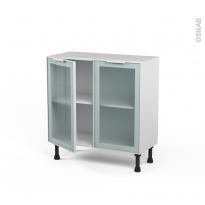 SOKLEO - Meuble bas cuisine prof.37  - Façade blanche alu vitrée - 2 portes - L80xH70xP37