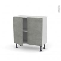 Meuble de cuisine - Bas - FAKTO Béton - 2 portes - L80 x H70 x P37 cm