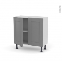 Meuble de cuisine - Bas - FILIPEN Gris - 2 portes - L80 x H70 x P37 cm