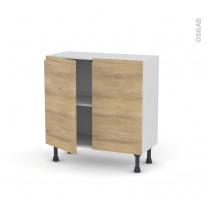 Meuble de cuisine - Bas - IPOMA Chêne naturel - 2 portes - L80 x H70 x P37 cm