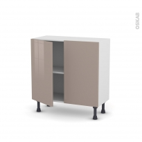 Meuble de cuisine - Bas - KERIA Moka - 2 portes - L80 x H70 x P37 cm