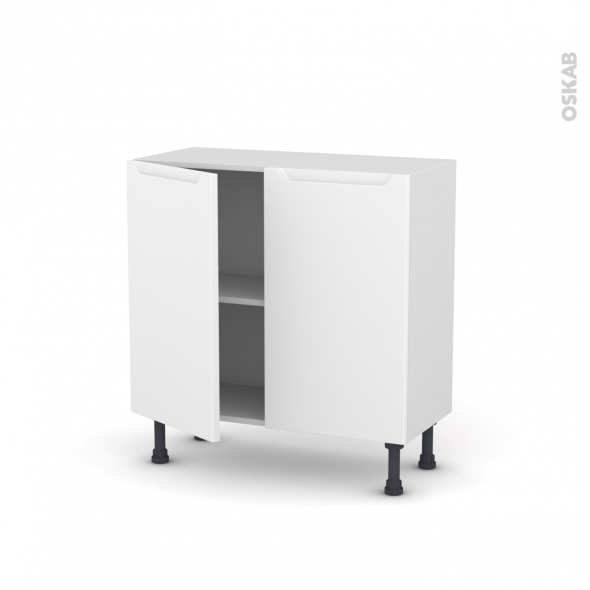 Meuble de cuisine - Bas - PIMA Blanc - 2 portes - L80 x H70 x P37 cm