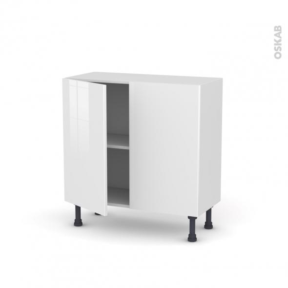 STECIA Blanc - Meuble bas prof.37  - 2 portes - L80xH70xP37