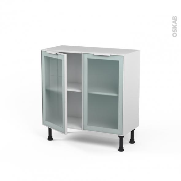 Meuble de cuisine - Bas vitré - Façade blanche alu - 2 portes - L80 x H70 x P37 cm - SOKLEO